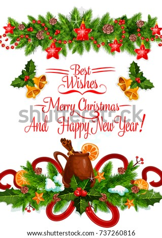 Merry christmas greeting card design template stock vector royalty merry christmas greeting card design template of holly or fir wreath mulled wine mug with m4hsunfo