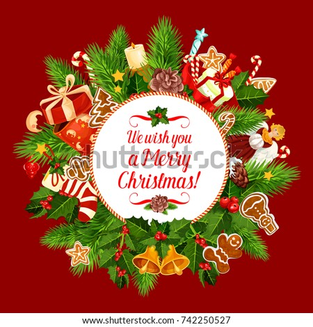 Merry Christmas Greeting Card Design Happy Stock Vector (Royalty ...
