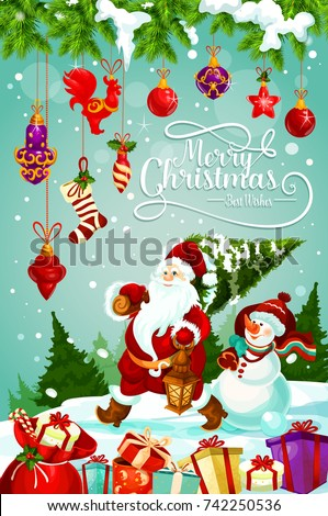 Merry Christmas Greeting Card Design Santa Stock Vector (Royalty ...