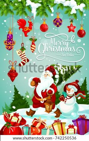 Merry christmas greeting card design santa stock vector royalty merry christmas greeting card design of santa carry christmas tree and snowman with new year decorations m4hsunfo