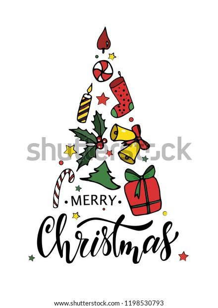 Merry Christmas Greeting Card Design Hand Stock Image