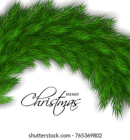 Merry Christmas greeting card with fir  tree branches background