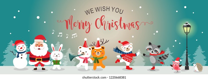 Merry Christmas greeting card flat. Set of cute cartoon Christmas characters. Vector illustration.