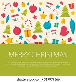 Merry Christmas greeting card flat design with Christmas equipment. Vector illustration.