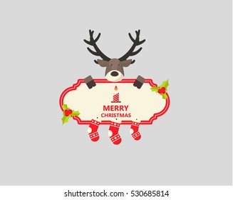 Merry Christmas Greeting Card. Flat Style Vector Design