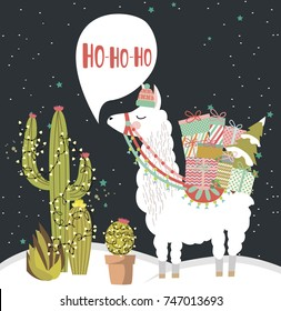 Merry Christmas greeting card with fun alpaca. Editable vector illustration