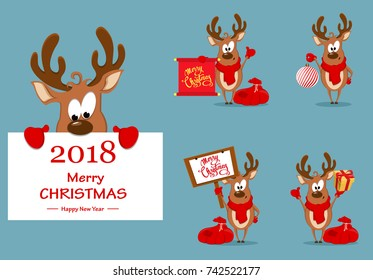 Merry Christmas greeting card with funny reindeer. Set of vector illustrations
