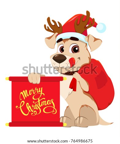 Merry christmas greeting card funny dog stock vector royalty free merry christmas greeting card funny dog wearing santa claus hat and deer antlers and holding m4hsunfo