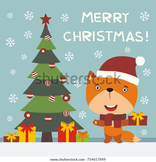 Merry Christmas Wishes Funny.Merry Christmas Greeting Card Funny Fox Stock Vector