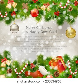 Merry Christmas greeting card with gift boxes, holy berries, Christmas balls, fir branches, candies and other Xmas decorations. Vector eps10 illustration
