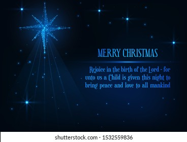 Merry Christmas greeting card with glowing low polygonal nativity Bethlehem star and religious phrase on dark blue background. Jesus birth Christian holiday concept. Modern design vector illustration.