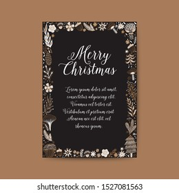 Merry Christmas greeting card. Hand drawn vector frame. Winter theme greeting card. Doodle flowers and leaves. Perfect for wedding invitations, greeting cards, blogs, prints and more