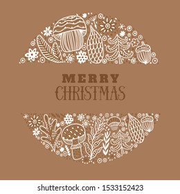 Merry Christmas greeting card. Hand drawn vector illustration. Winter theme greeting card. Doodle flowers and leaves. Perfect for wedding invitations, greeting cards, blogs, prints and more