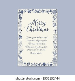 Merry Christmas greeting card. Hand drawn vector illustration. Winter theme greeting card. Doodle flowers and leaves. Perfect for wedding invitations, greeting cards, blogs, prints and more.