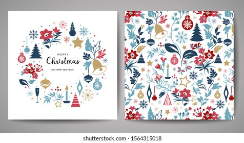 Merry Christmas greeting card. Hand drawn vector illustration. Winter theme greeting card.