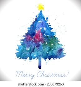 Hand painted christmas card images stock photos vectors merry christmas greeting card with hand painted blue watercolor tree m4hsunfo