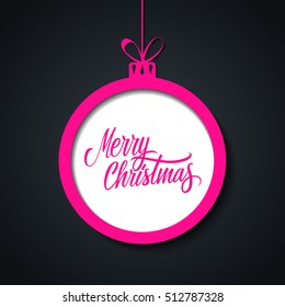 Merry Christmas greeting card with handwritten text design, pink christmas ball and black background. Hand drawn lettering. Vector illustration.