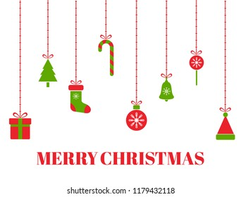 Merry Christmas greeting card with hanging christmas toys, tree, gift boxes, snowflakes, xmas balls, santa hat, bell, ribbon, candies. Red and green holiday design elements. Vector illustration
