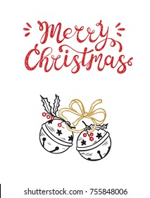 Merry Christmas greeting card. Happy Holidays. Vector winter holiday background with hand lettering calligraphic and Christmas Bells. Jingle Bells with Ribbon and Holly Berries
