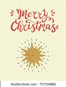 Merry Christmas greeting card. Happy Holidays. Vector winter holiday background with hand lettering calligraphic and Christmas Star. The Star of Bethlehem