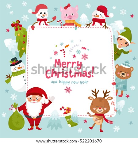 Merry Christmas Greeting Card Happy New Stock Vector (Royalty Free ...