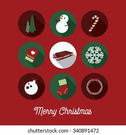 Merry Christmas greeting card with holiday circle icons. Simple holiday greeting illustration with festive winter icons.
