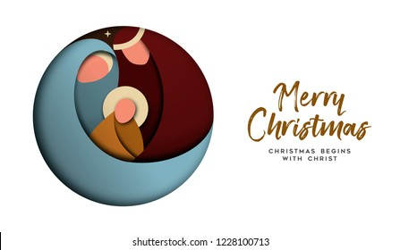 Merry Christmas greeting card, holy family illustration in modern layered paper cut style. Religious holiday design of baby jesus christ.