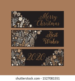 Merry Christmas greeting card, horizontal banners. Hand drawn vector illustration. Winter theme greeting card. Doodle flowers and leaves. Perfect for wedding invitations