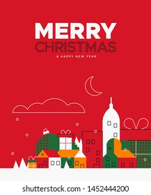 Merry Christmas greeting card illustration with colorful winter city and holiday ornaments in vintage colors.