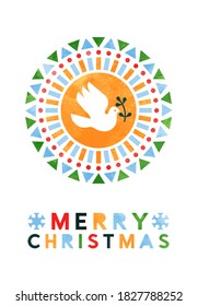 Merry Christmas greeting card illustration of peace dove bird with abstract geometric folk shapes in watercolor texture. Modern scandinavian design for minimalist party invitation or xmas greetings.