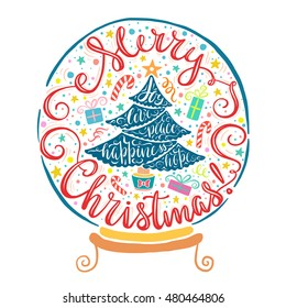 Merry Christmas Greeting Card illustration with hand drawn lettering design and spruce silhouette with wishes - hope, love, happiness, peace, joy. Perfect for poster, home decoration, banner.