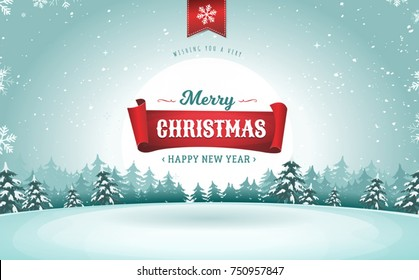 Merry Christmas Greeting Card/ Illustration of a design christmas winter snowy landscape background, with firs, snow and banner for winter and new year holidays