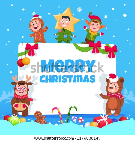 Merry christmas greeting card kids christmas stock vector royalty merry christmas greeting card kids in christmas costumes dancing at childrens winter holiday party m4hsunfo