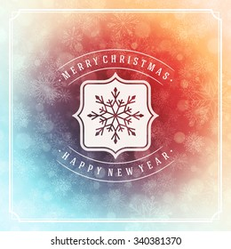 Merry Christmas greeting card lights and snowflakes vector background. Christmas holidays wish message typography design and decorations. Vector illustration.