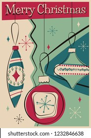 Merry Christmas Greeting Card Mid Century Modern Stylization