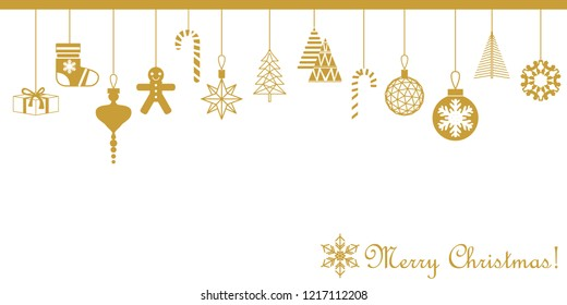 Merry Christmas greeting card. Minimal design with decorative golden elements. Fir trees, gift boxes, gingerbread, snowflakes. On white background.