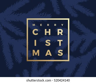 Merry Christmas Greeting Card with Minimalistic Branch Pattern and Modern Typography Gold Letters in a Frame. Classy Blue Background.