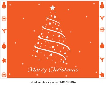 Merry Christmas Greeting Card Orange