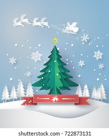 merry christmas greeting card with origami made christmas tree and snow flake. paper art and  digital craft style