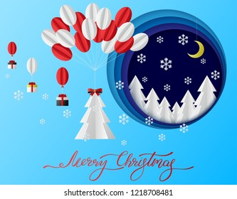Merry Christmas greeting card with paper Christmas tree, gifts and snowflakes. Vector background.