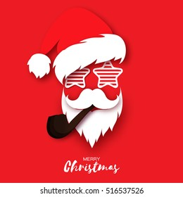 Merry Christmas greeting card with papercraft Santa Claus with pipe and sunglasses on red background. Hipster style. Vector illustration