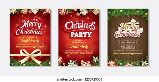 Merry christmas greeting card and party invitations on red background. Vector illustration for happy new year flyer brochure design.
