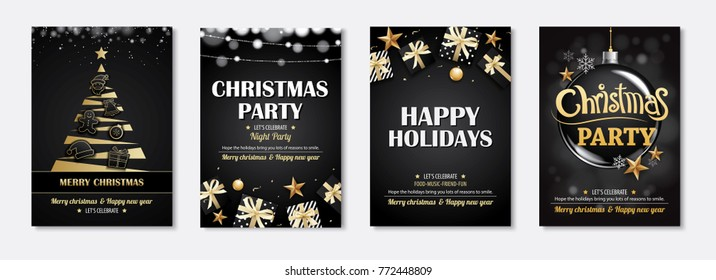 Merry christmas greeting card and party invitations on black background. Vector illustration element for happy new year flyer brochure design.