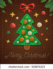 Merry Christmas greeting card with patchwork Christmas tree on knitting pattern.