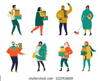 Merry Christmas greeting card with people walking and carrying present boxes. Xmas winter poster collection.