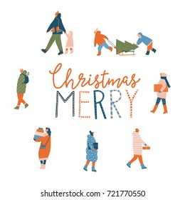 Merry Christmas greeting card with people walking and carrying present boxes. Xmas winter poster collection