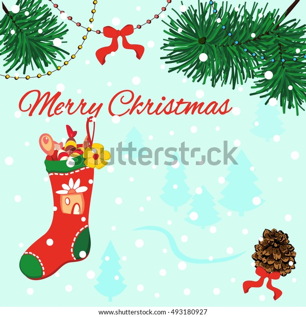 Merry Christmas greeting card with pine cone, red bows, red Christmas sock hanging on Christmas tree. Winter holidays design
