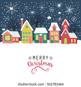 Merry Christmas greeting card, poster and background design with hand drawing elements. Isolated vector illustration