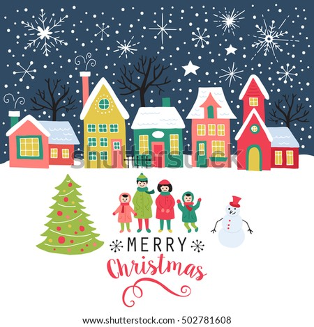 merry christmas greeting card poster and background design with hand drawing elements isolated vector