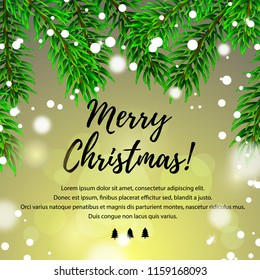Merry Christmas greeting card in realistic style. Vector illustration